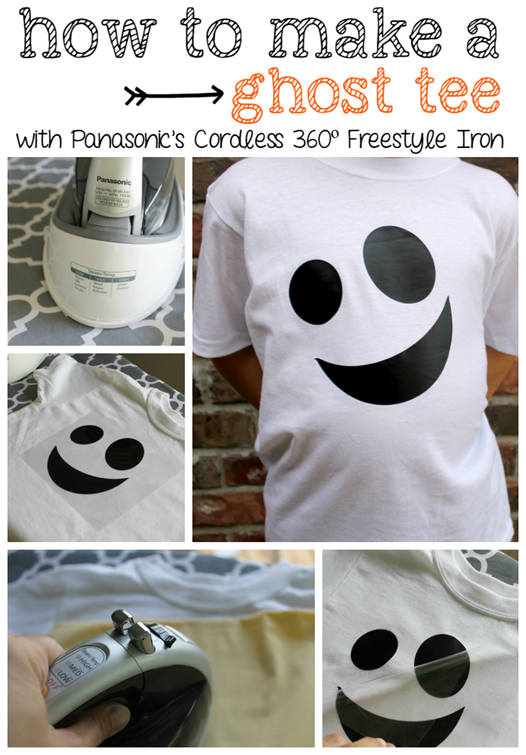How to make a Ghost Tee with Panasonic's Cordless 360º Freestyle Iron at GingerSnapCrafts.com