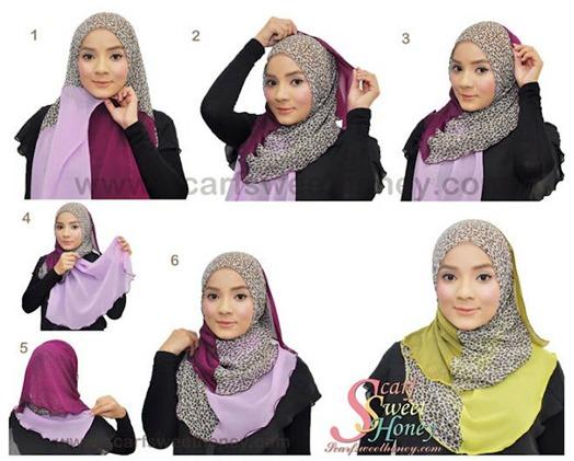 Gambar Langkah Langkah Cara Memakai Jilbab Modern Klik Disini | Black ...