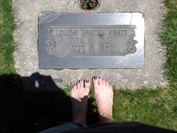 Louisa Barnes Pratt grave with my feet, 2011