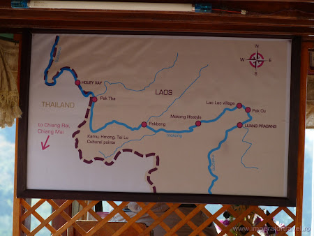 Harta Laos: intinerariu Luang Prabang - Houey Xay