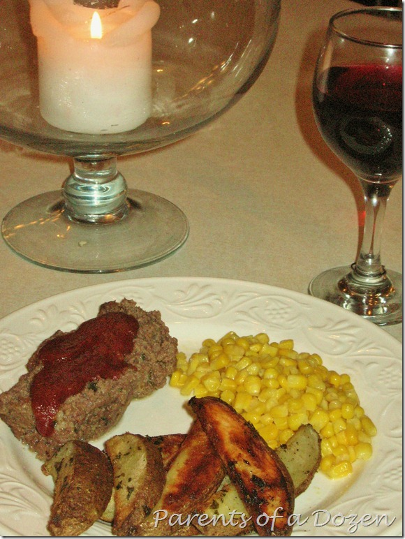 Meat Loaf, Potatoe wedges, and Corn