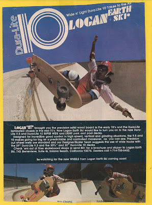 Eddie Chang (Top) and Eric bottom left with his brother Eddie bottom right in one or our Dura-Lite ads in Skateboarder.