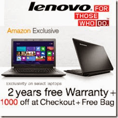 Lenovo Laptops upto Rs.4000 off coupon from Infibeam