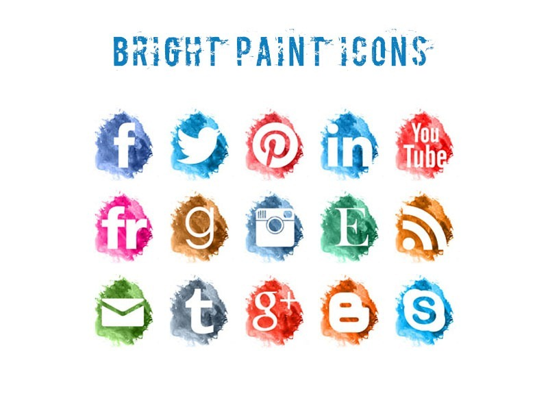 free bright paint social icons