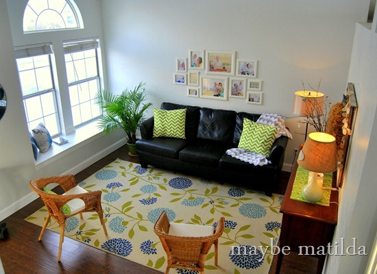 Blue, Green, Gray living room