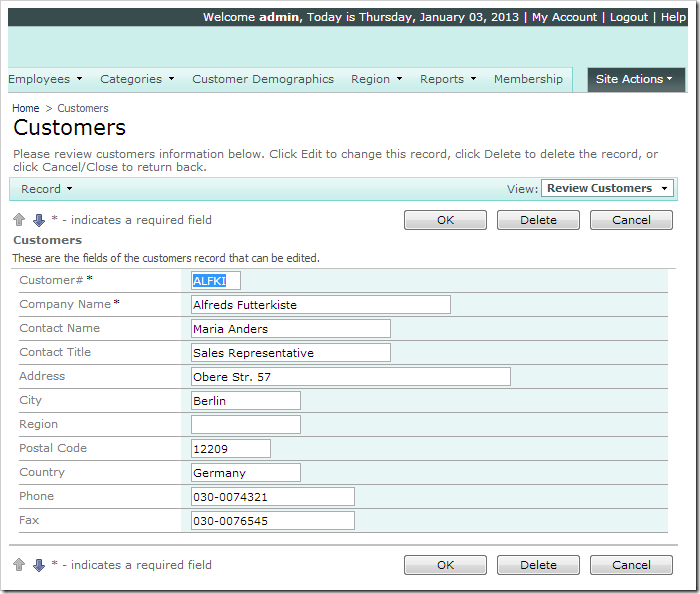 Alladdress fields displayed in grid1 and Phone is editable on Customers page when logged in as 'admin'.