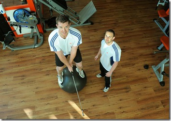 FREE PIC - NO REPRO FEE<br />European Challenge Tour golfer Peter O'Keeffe from Cork works on his strength and conditioning with PGA approved golf strength and conditioning coach Luke Dennehy at his gym in Ballincollig, Cork<br />Pic: Brian Lougheed