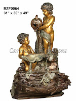 Bronze Cascade Fountain with Two Cherubs Pouring Water, 31x30xH49