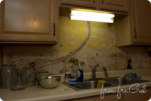 Kitchen Demo - Yellow Sink Wall
