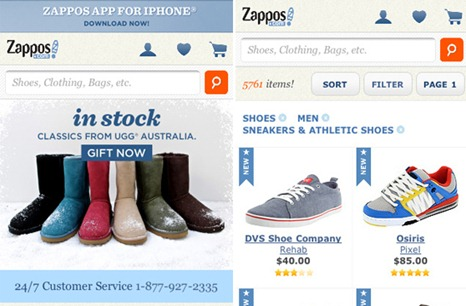 Zappos Mobile Web Design