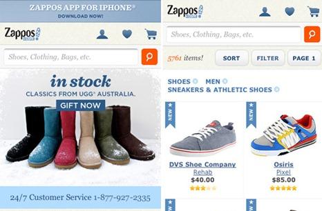 Zappos Mobile Web Design