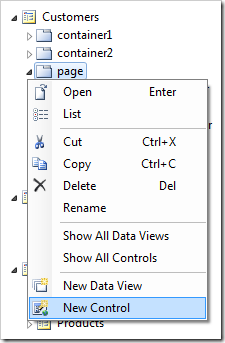 Creating a new control in the 'page' container.