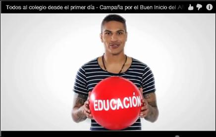 Paolo Guerrero, destacado jugador de fútbol, se une a la campaña por el Buen Inicio del Año Escolar 2013
