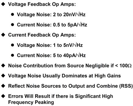 High speed op amp noise summary
