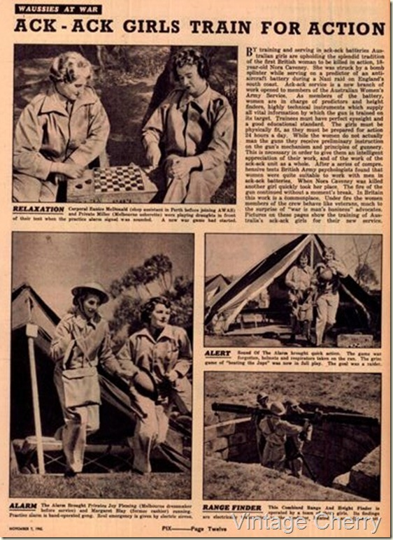 Victorian  ack-ack girls in action, from PIX June 1942.