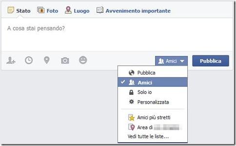 Facebook pubblicare contenuti con filtri di pubblico