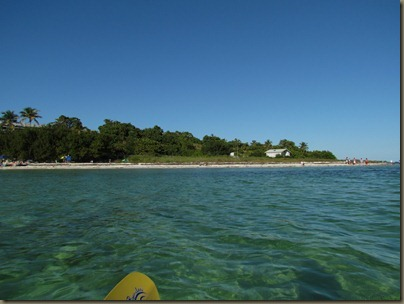 kayaking at bahia honda state park beach in background