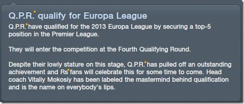 QPR qualify for Europa League