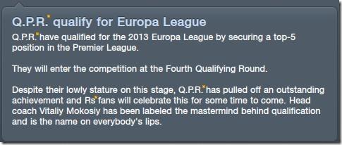 QPR qualify for Europa League
