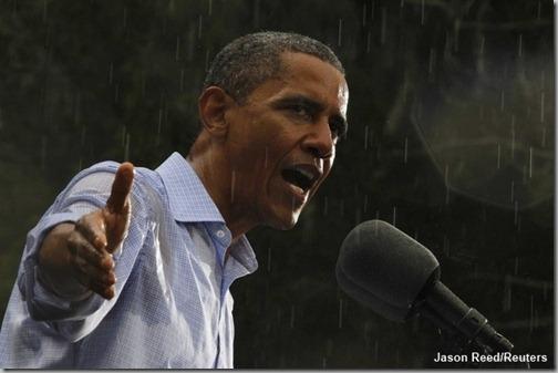 Obama in the rain