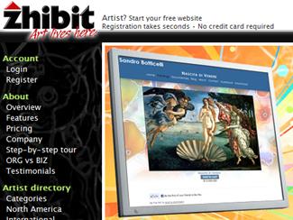 zhibit online art portfolio