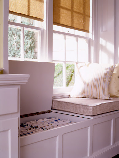 Storage under a window bench is an idea place to store files.