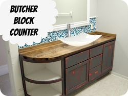 Butcher Block Counter Tutorial (with Mason Jar Backsplash!!) Sawdust and Embryos