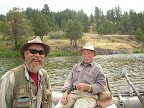 Jack Saunders and Doug Nation yukking it up on the Blackfoot River.