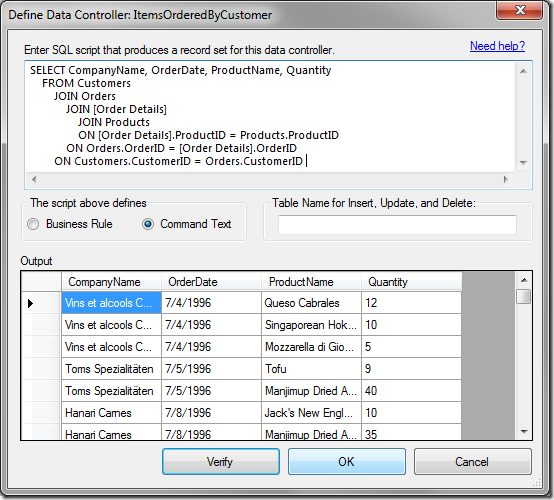 """Verifying the results of the query in the """"Define Data Controller"""" window."""