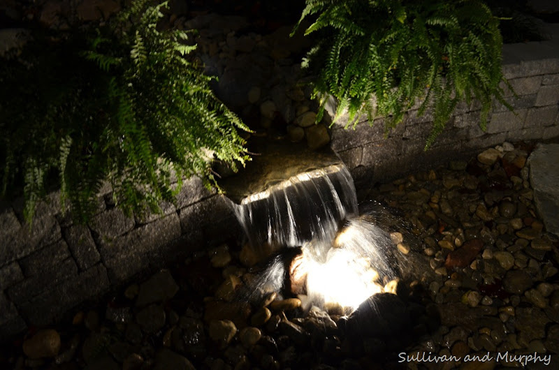 nightview of waterfall wall