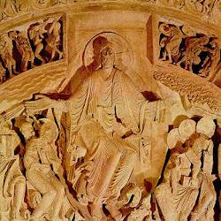 67- Detalle de la portada de pentecostés de la Madeleine de Vezelay