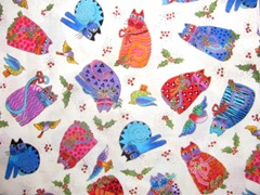 fabric Laurel Burch colorful small cats