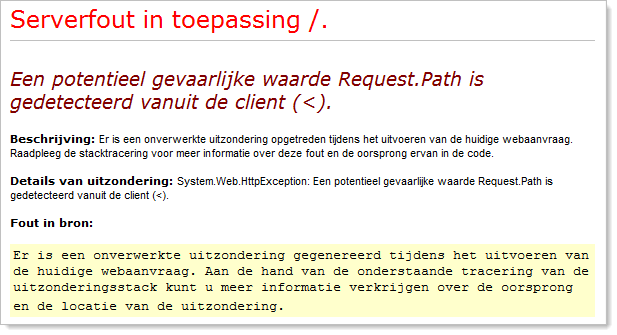 A Dutch custom error message