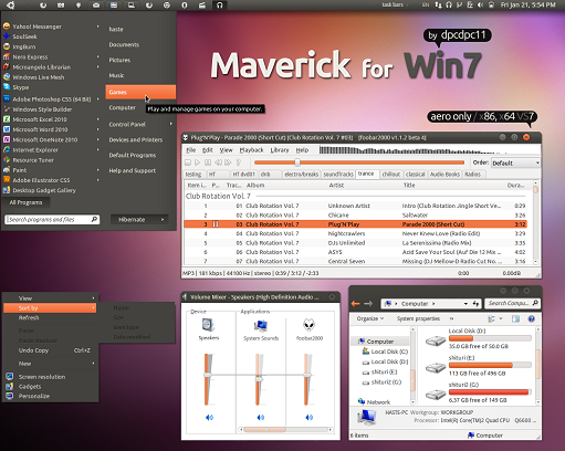 maverick for win7 theme
