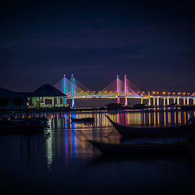 Colourful Bridge at Dawn by Adrian Choo - Landscapes Waterscapes ( dawn, colorful, boats, beach, seascape, bridge, sunrise, landscape )