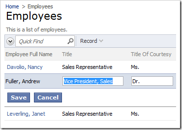 Employee Full Name is read-only in grid view
