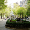 A springtime scene in the center of Rittenhouse Square