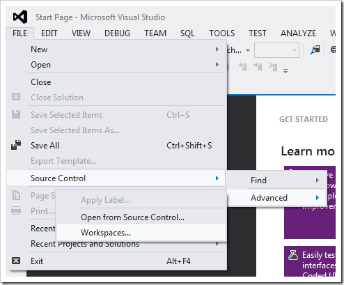 Managing workspaces from Visual Studio.