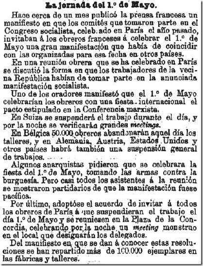 1890-03-30 - La Época - 03 (Preparativos del 1º de Mayo)