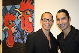 Artist Pepe Villegas and curator Frankie Crescioni-Santoni at the opening reception of  FolkloRican: The Art of Pepe Villegas at NYU Wagner
