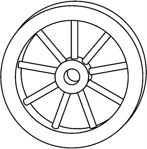Dibujo de rueda for Wheel coloring page