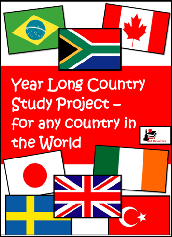 Year long country study project for any country in the world - great for homeschoolers or classrooms alike.  Students research any country they choose and cover all of their science and social studies standards, as well as literacy standards like informational reading and writing.  Resource from Raki's Rad Resources.