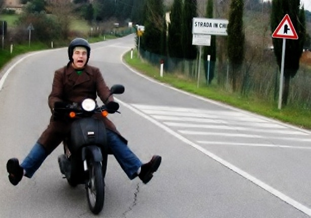 Joseph on moped, Florence, 2004