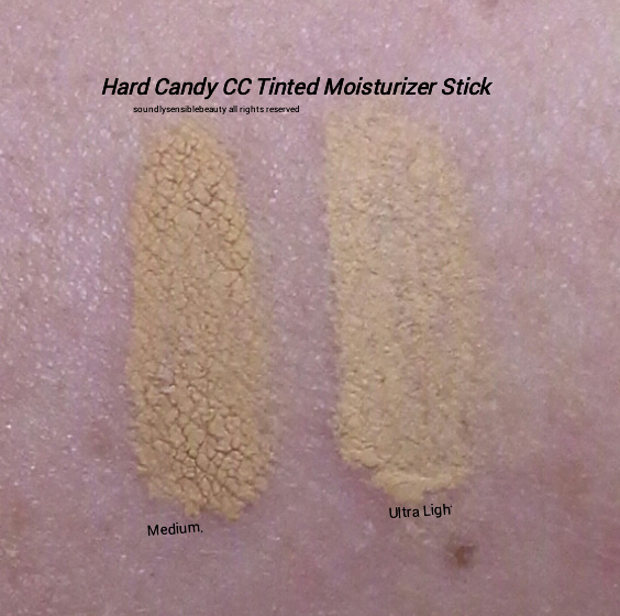 Hard Candy Tinted Moisturizer Stick CC Color Correcting Foundation Swatches of Shades Medium & Ultra Light
