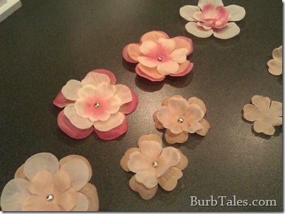 Fabric flowers for baby's hair