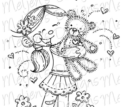 meljen's designs little girl bear hugs preview