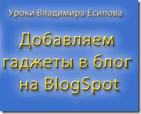 как добавить гаджеты - урок Владимира Есипова из курса Как создать блог и заработать деньги в интернет