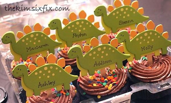 Personalized dinosaur cupcakes