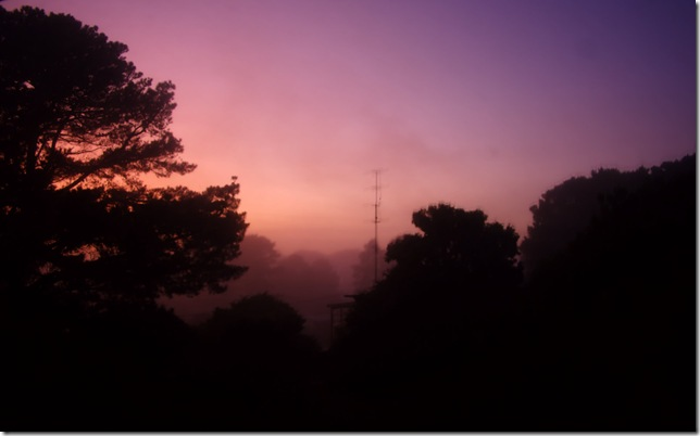 Monday a foggy sunrise