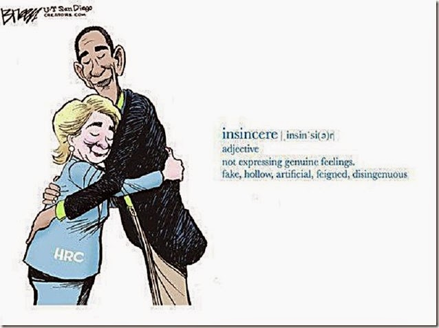 Hillary-BHO insincere embrace toon